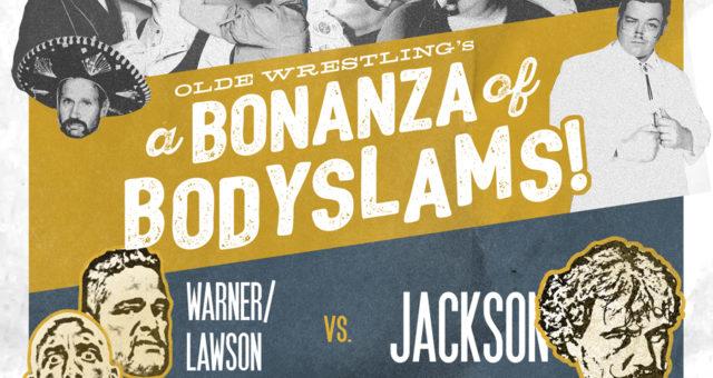 Sue Jackson challenges two men to bodyslam him